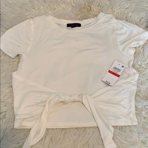 White crop top with tie